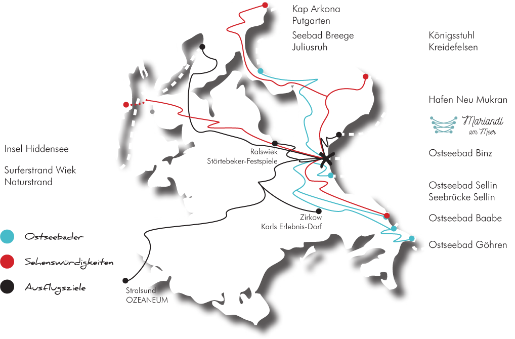 Rügenkarte mit Ausflugstipps